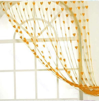 Elegence Polyester Yellow Abstract Eyelet Door Curtain