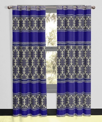 Vivace Homes Polyester, Jacquard Navy Blue Geometric Eyelet Door Curtain