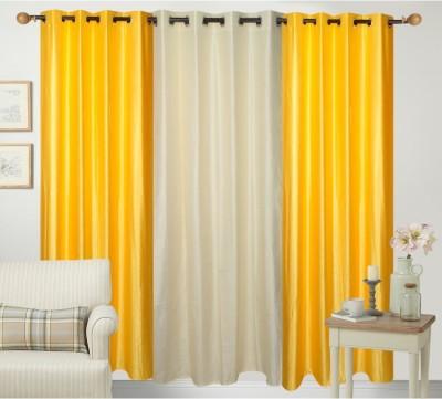 Daddu Enterprises Polyester Yellow, Beige Plain Eyelet Window Curtain