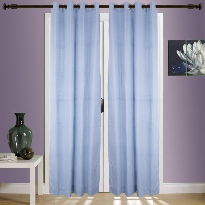 SWHF Cotton Sky Blue Self Design Eyelet Window & Door Curtain