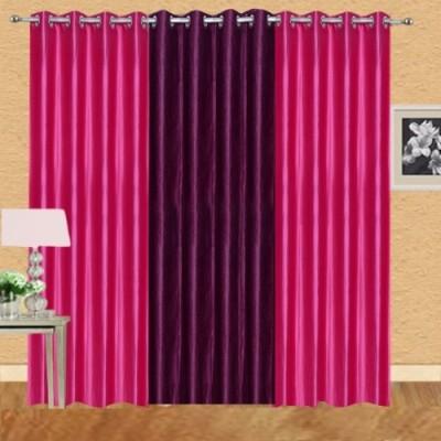Shiv Shankar Handloom Polyester Dark Pink, Wine Crush Solid Eyelet Door Curtain