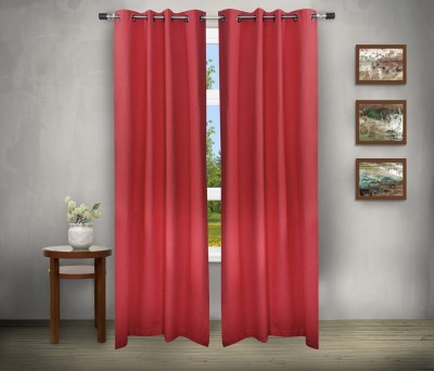 House This Cotton Red Abstract Eyelet Curtain