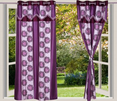 Desire Polyester Lavender Floral Eyelet Long Door Curtain