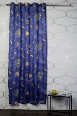 Titu Polyester Blue, Yellow Checkered Eyelet Door Curtain