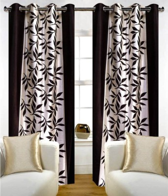 VEENA FABS Polycotton Brown Floral Eyelet Window & Door Curtain