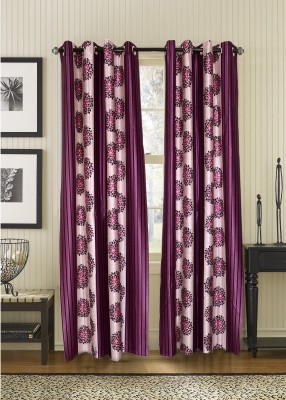 Jds Polyester Purple Floral Ring Rod Door Curtain