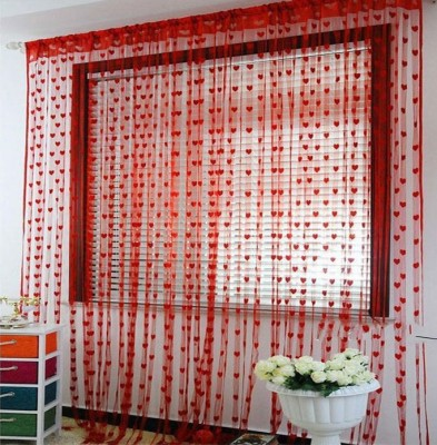 Ramcha Polyester Red Abstract Eyelet Door Curtain