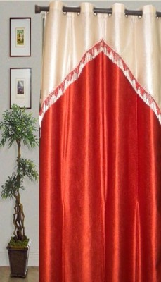 JBG Home Store Polyester Orange Floral Eyelet Door Curtain
