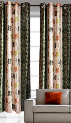 India Furnish Polyester Green Multi Printed Eyelet Door Curtain