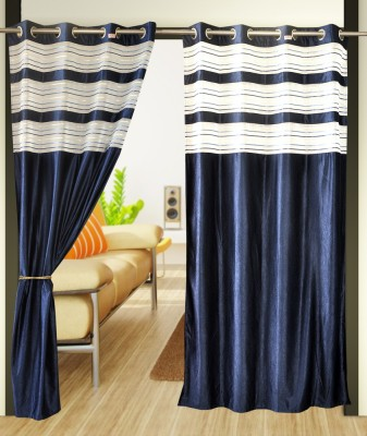 Home Candy Polyester Blue Printed Ring Rod Door Curtain