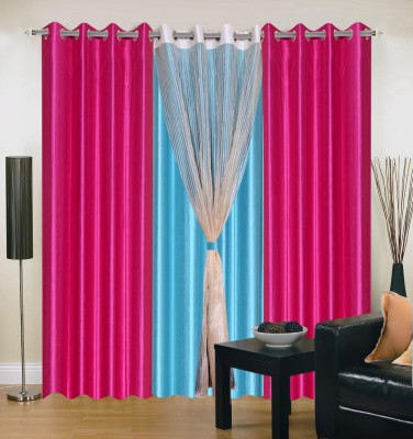 Shopgrab Polyester Pink Solid Eyelet Door Curtain
