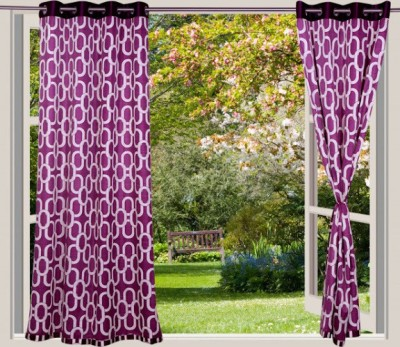 Desire Polyester Lavender Geometric Eyelet Window Curtain