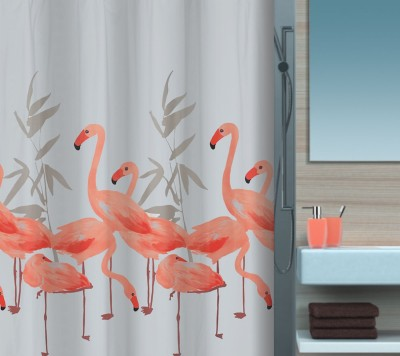 Spread Polyester Salmon Printed Eyelet Shower Curtain