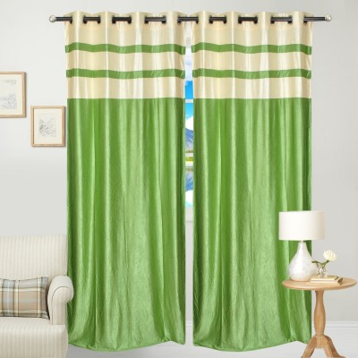 Fresh From Loom Polyester Green Abstract Curtain Door Curtain
