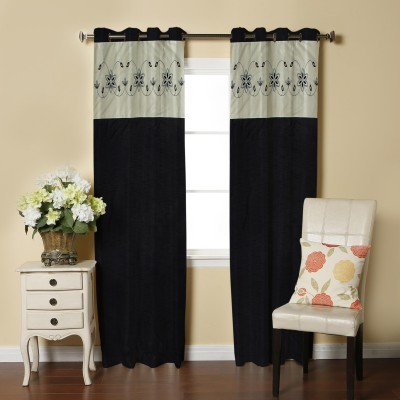 Abhi Decor Polyester Black Embroidered Curtain Long Door Curtain