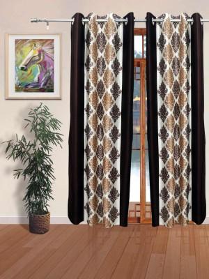Sajawatt Polyester Brown Motif Eyelet Door Curtain