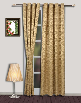 S9home by Seasons Polyester Yellow Abstract Eyelet Door Curtain