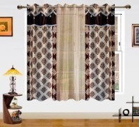 Dekor World Polyester Brown, Beige Motif Eyelet Window Curtain(150 cm in Height, Pack of 3)