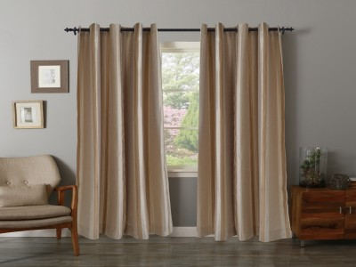 Home Boutique Polyester Beige Striped Eyelet Window & Door Curtain