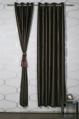Homelife Polyester Brown Solid Eyelet Door Curtain