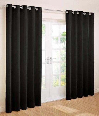 Home Fashion Gallery Polyester Black Plain Eyelet Door Curtain