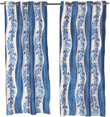 Home Aid Polyester Blue Abstract Eyelet Door Curtain