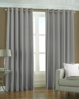 The Decor Store Polyester Grey Plain Eyelet Window Curtain
