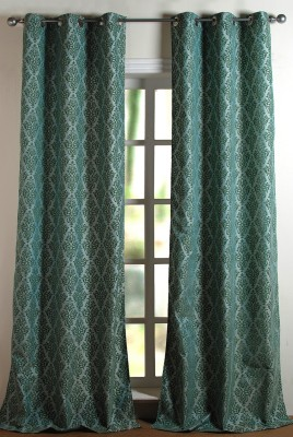 Deco Window Polyester Light Blue Solid Eyelet Long Door Curtain