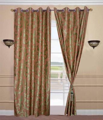 JTInternational Polyester Green Abstract Eyelet Door Curtain