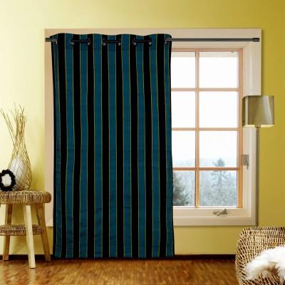 Kings Polycotton Blue Striped Eyelet Window Curtain
