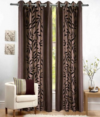 Fabbig Polyester Brown Printed Eyelet Window Curtain