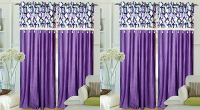Hargunz Polyester Purple Abstract Eyelet Door Curtain