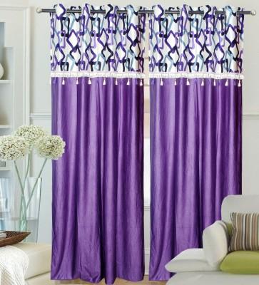 Decor Vatika Polyester Purple Abstract Eyelet Door Curtain