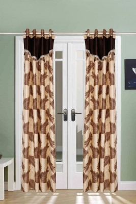 The Handloom Store Polyester Brown Floral Eyelet Door Curtain