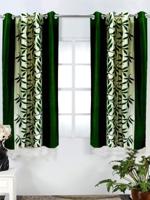 Homefab India Polyester Green Printed Eyelet Window Curtain
