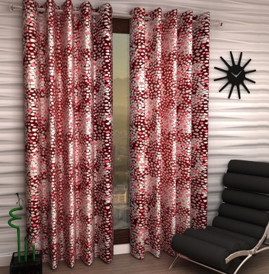 Home Fantasy Polyester Red Abstract Eyelet Window Curtain