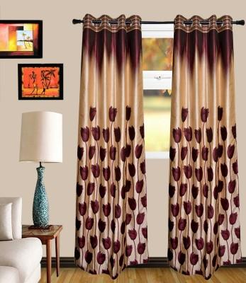 MF Polycotton Wine Floral Eyelet Window Curtain