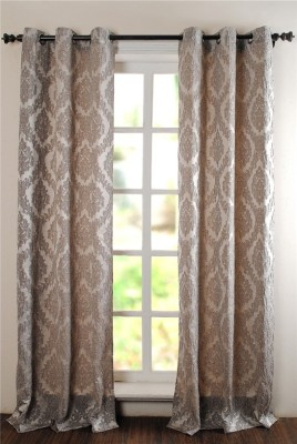Deco Window Polyester Grey Floral Eyelet Window Curtain(42 inch in Height, Single Curtain) at flipkart