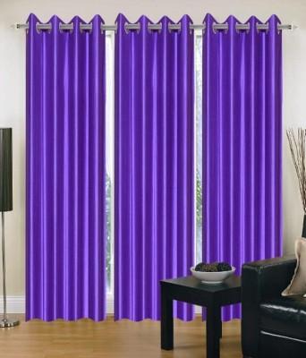 shivamconcepts Polyester Purple Plain Eyelet Door Curtain