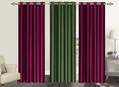 Furnishing Zone Polyester Maroon, Green Plain Eyelet Long Door Curtain
