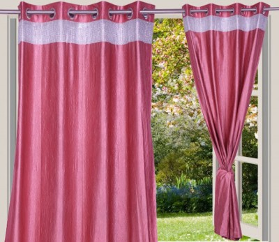 Desire Polyester Peach Solid Eyelet Door Curtain