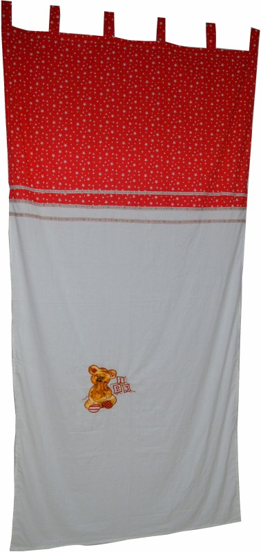 Creative Textiles Cotton White Embroidered, Motif Curtain Door Curtain(240 cm in Height, Single Curtain)