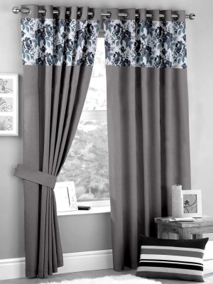 HOMEC Polyester Grey Floral Eyelet Window & Door Curtain