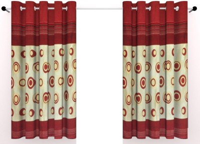 Vinis Cotton Maroon Printed Ring Rod Window Curtain