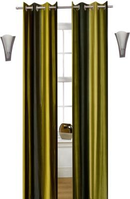 Shopcrats Polyester Green Solid Curtain Window & Door Curtain