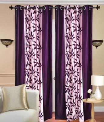 The Intellect Bazaar Polyester Purple Solid Eyelet Door Curtain