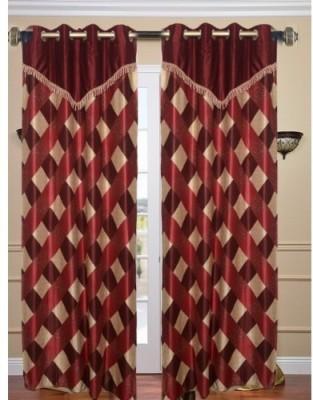 Shopgrab Polyester Multicolor Checkered Eyelet Door Curtain