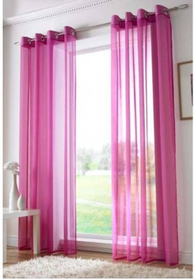 Desirica Polyester Pink Solid Eyelet Long Door Curtain