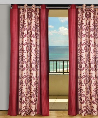 Home Aid Polyester Beige-Maroon Abstract Eyelet Door Curtain