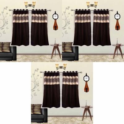 Go Decore Polycotton Brown Self Design Ring Rod Window Curtain